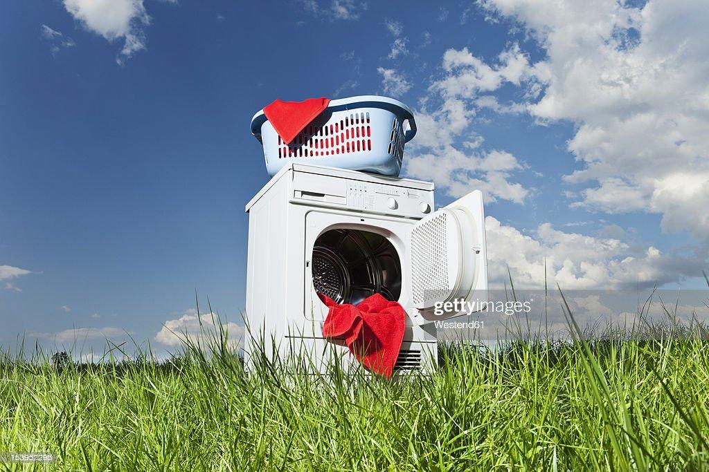 Germany, Bavaria, laundry dryer in grass