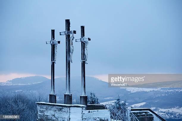 Germany, Bavaria, Lower Franconia, Rhoen, View of crosses on kreuzberg mountain
