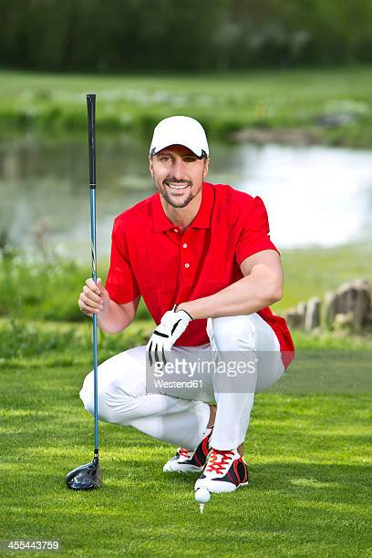 Germany, Bavaria, Mature man on golf course