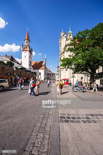 Germany, Bavaria, Munich, Altstadt-Lehel, Toy Museum in the old Townhall tower and Church of the Holy Spirit