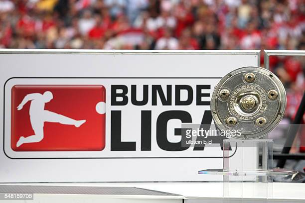 Germany Bavaria Munich Bundesliga season 20072008 matchday 34 FC Bayern Muenchen v Hertha BSC Berlin 41 Bundesliga trophy and Bundesliga emblem