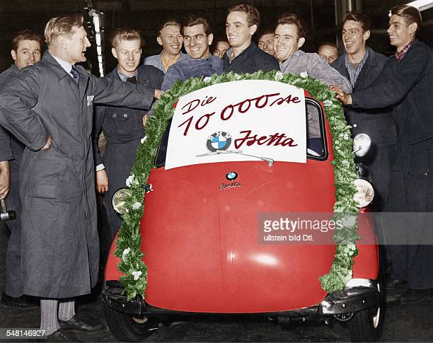 Germany Bavaria Munich ceremony at the plant of BMW after the production of the 10000th BMW Isetta members of staff in front of the car Digitally...