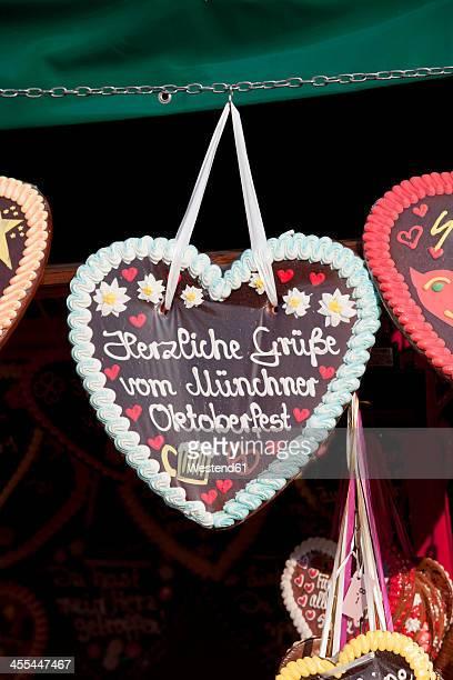 Germany, Bavaria, Munich, Decorated gingerbread hearts on Oktoberfest