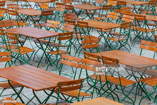 Germany, Bavaria, Munich. Empty beer garden, Oktoberfest