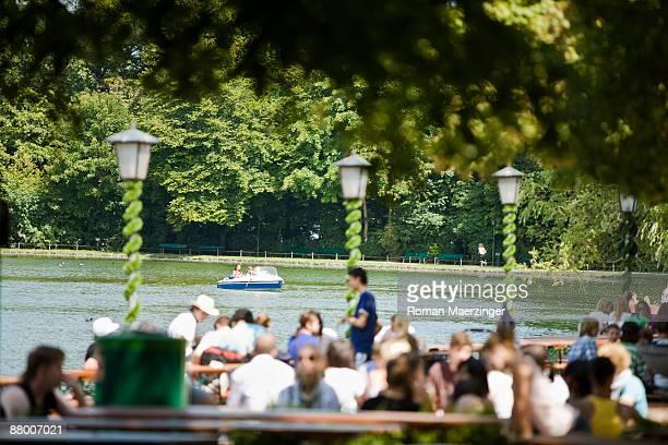 Germany, Bavaria, Munich, English Garden, beer Garden