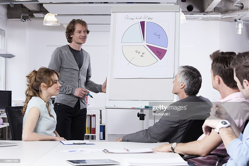 Germany, Bavaria, Munich, Man explaining pie chart to colleagues