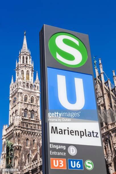 Germany Bavaria Munich Marienplatz Subway Entrance Sign