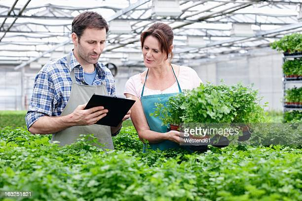 Germany, Bavaria, Munich, Mature man and woman with clip board in greenhouse