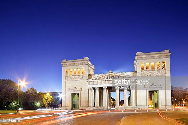 Germany, Bavaria, Munich, Propylaea at Koenigsplatz at blue hour