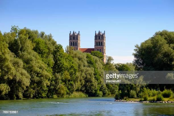Germany, Bavaria, Munich, river Isar and church St. Maximilian
