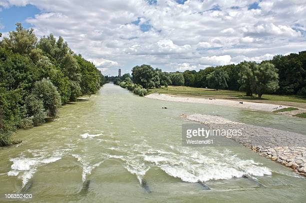 Germany, Bavaria, Munich, River isar flowing by trees