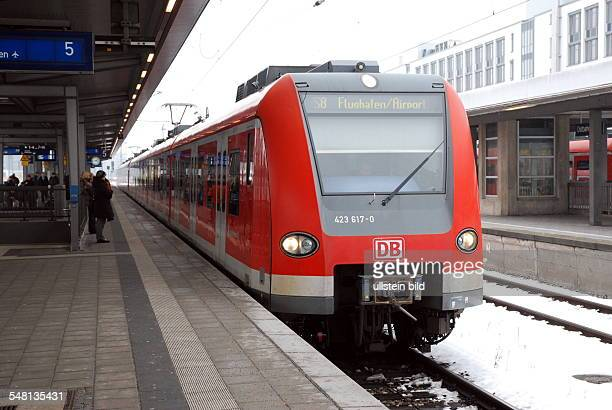 Germany Bavaria Munich SBahn line S8 to Munich Airport on the platform in Munich Ostbahnhof