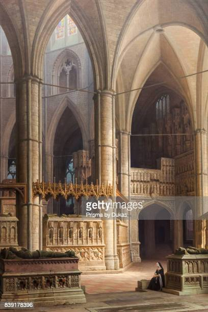 Germany Bavaria Munich The New Pinakothek Museum Painting titled 'The Choir of Westminster Abbey' by Max Emanuel Ainmiller dated 1849