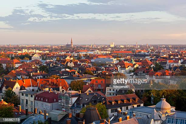 Germany, Bavaria, Munich, View of cityscape with crowded houses and roof