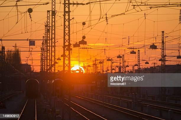 Germany, Bavaria, Munich, View of main station at sunset