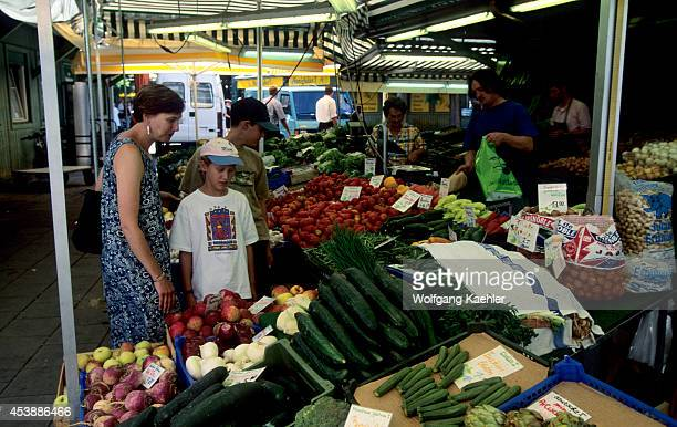 Germany Bavaria Munich Viktualienmarkt Daily Market Produce Stand People Model Rel