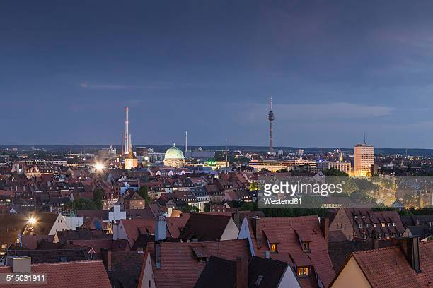 Germany, Bavaria, Nuremberg, Cityscape in the evening