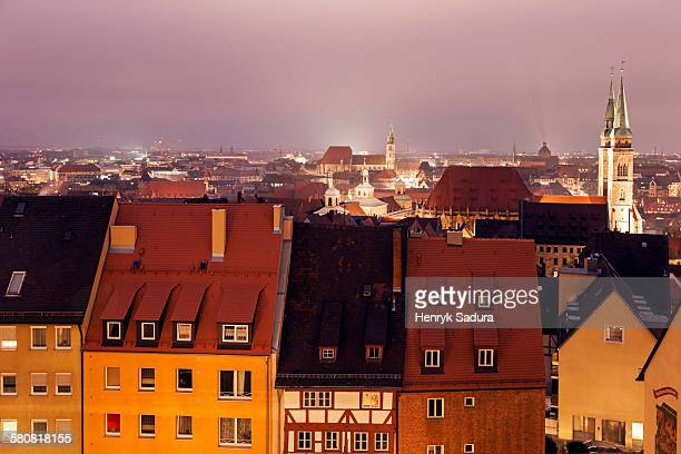 Germany, Bavaria, Nuremberg, Old town at night
