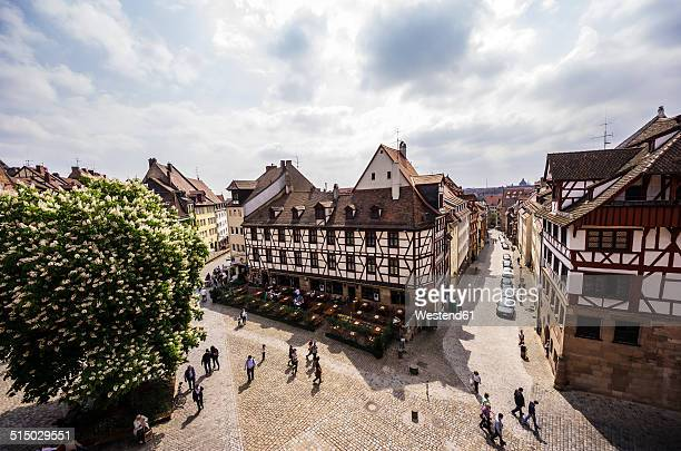 Germany, Bavaria, Nuremberg, view to place and typical inn from above