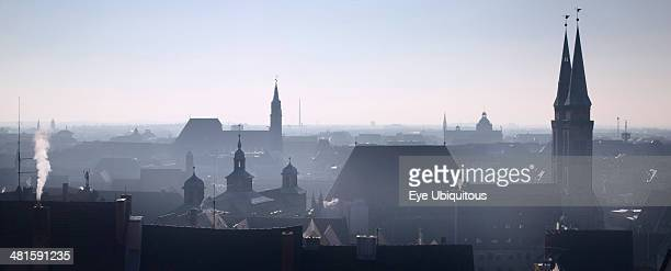 Germany Bavaria Nuremberg Winter city skyline from the Kaiserburg