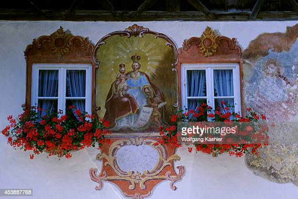 Germany Bavaria Oberammergau Painted House Windows Flower Boxes With Geraniums