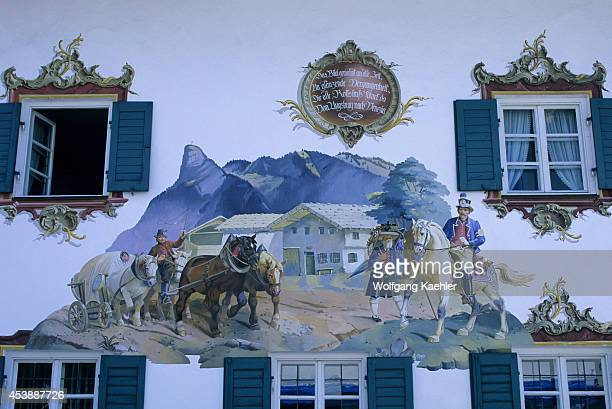 Germany Bavaria Oberammergau Street Scene With Painted House Detail
