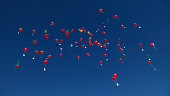 Germany, Bavaria, Red heart shape balloons with messages in sky, wedding tradition