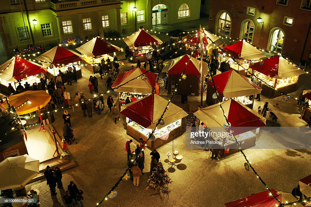 Germany, Bavaria, Regensburg, Christmas Market at night, elevated view