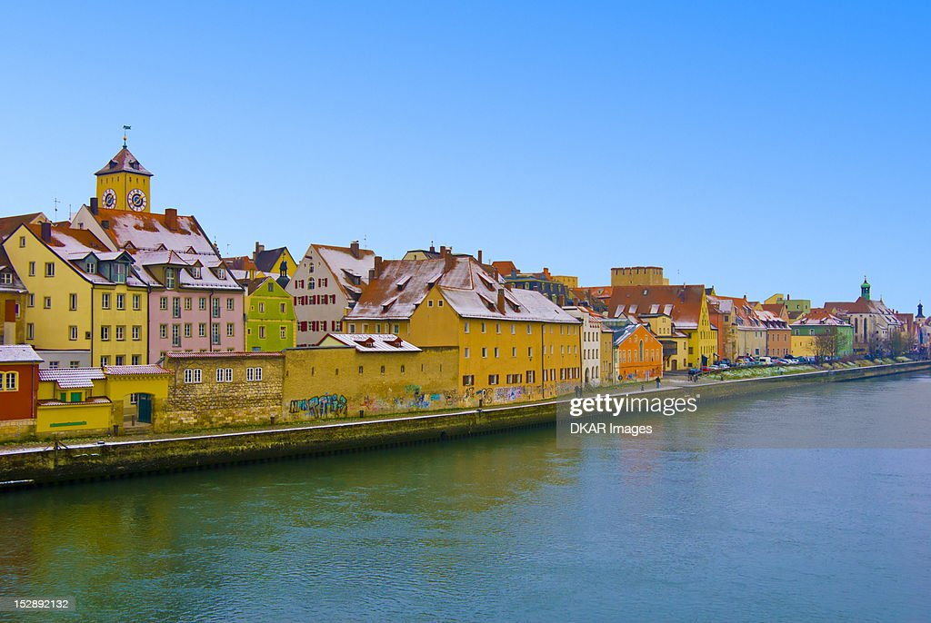 Germany, Bavaria, Regensburg, View of city at winter