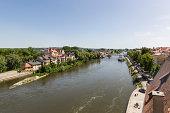 Germany, Bavaria, Regensburg, View of Fishermans house near Danube River