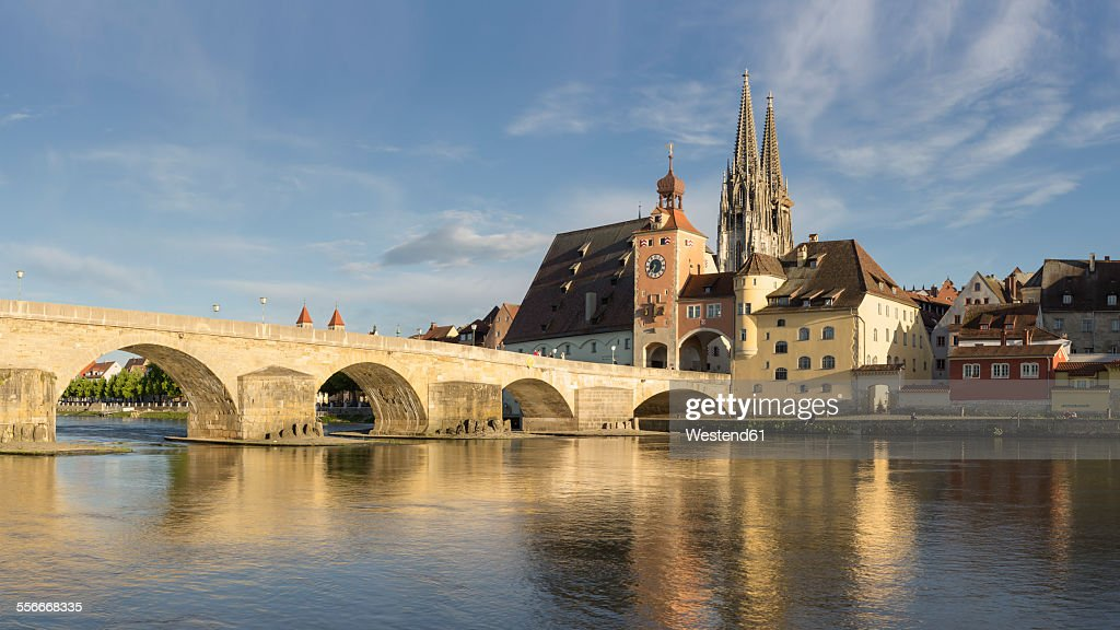 Germany, Bavaria, Regensburg, View of old town and old stone bridge