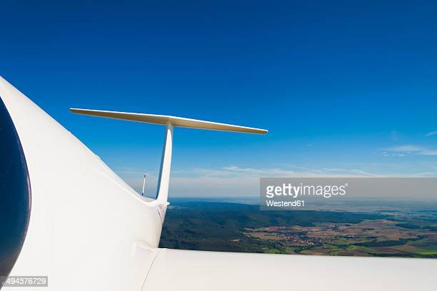 Germany, Bavaria, Rhoen, wing of glider, aerial view