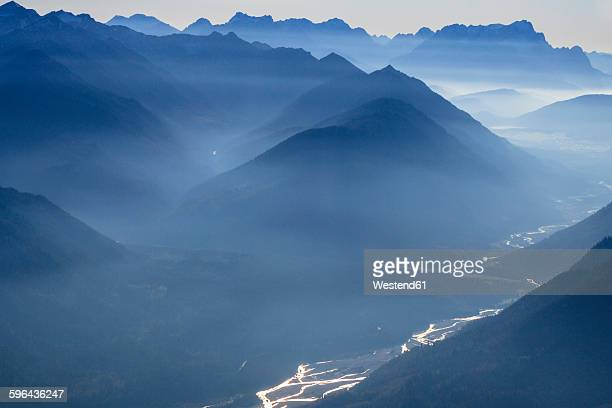 Germany, Bavaria, River Isar and the Alps with Wetterstein mountains, Zugspitze and Soyenspitze