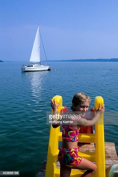 Germany Bavaria Starnberger See Lake Seeshaupt Lake Water Slide Girl Mr