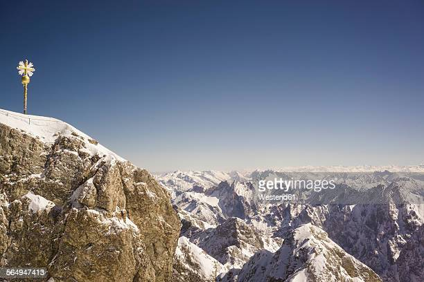 Germany, Bavaria, summit cross on Zugspitze