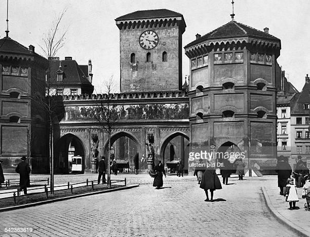 the Isartor city gate in Munich date unknown around 1906