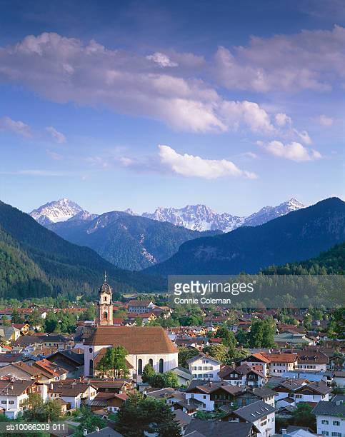 Germany, Bavaria, town of Mittenwald, elevated view