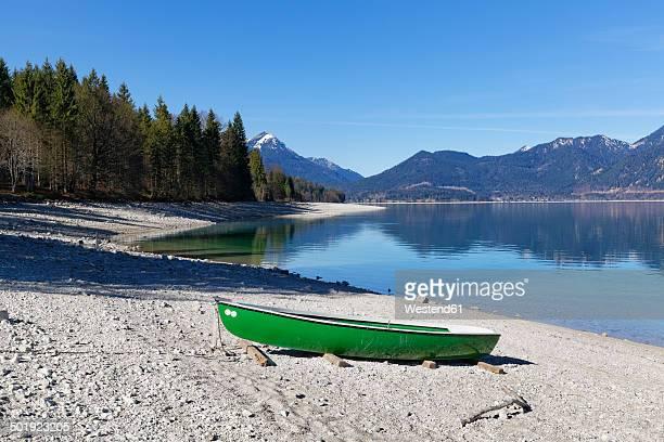 Germany, Bavaria, Upper Bavaria, Niedernach, Simetsberg mountain, Lake Walchensee and boat