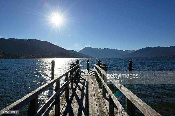 Germany, Bavaria, Upper Bavaria, Tegernsee, landing stage near Kaltenbrunn