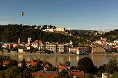 Germany, Bavaria, View of Fortress Oberhaus in Passau with Danube River