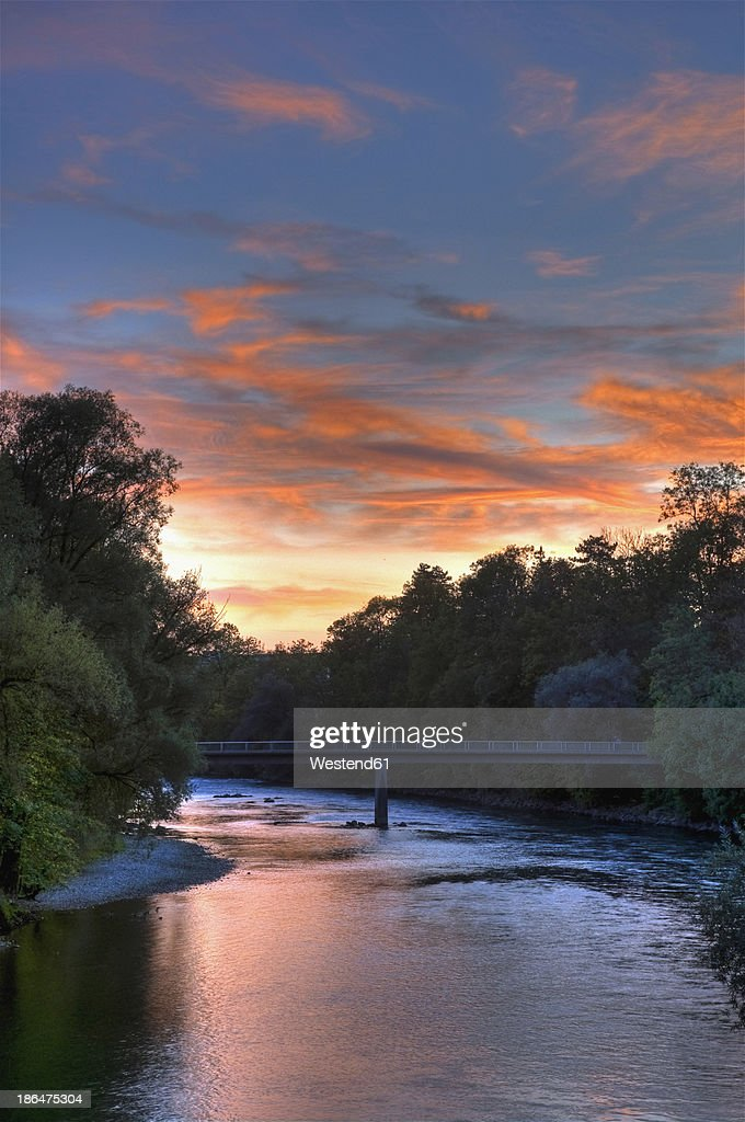Germany Bavaria View Of Lech River At Sunrise Stock Photo ...