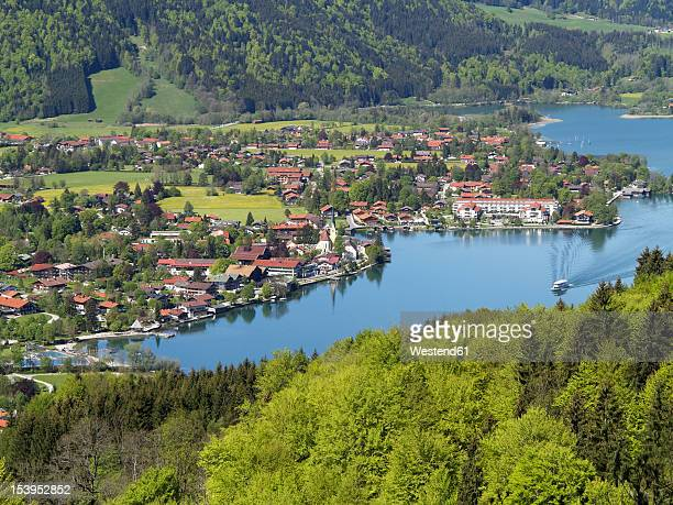 Germany, Bavaria, View of Rottach Egern at Lake Tegernsee