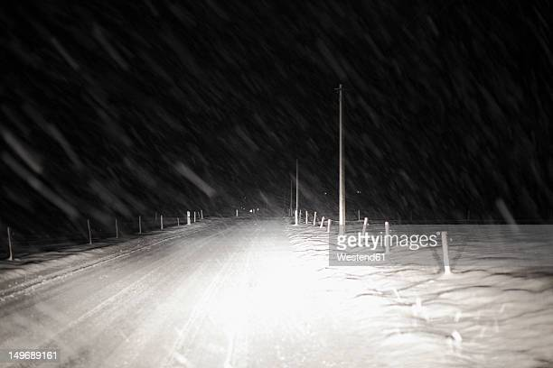 Germany, Bavaria, View of snow on road