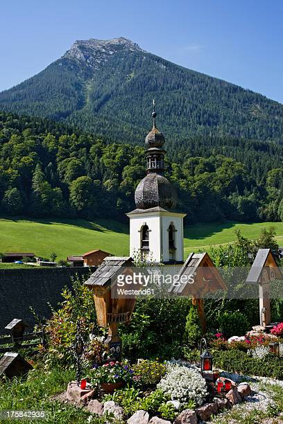 Germany, Bavaria, View of St Sebastian's Church at Ramsau bei Berchtesgaden