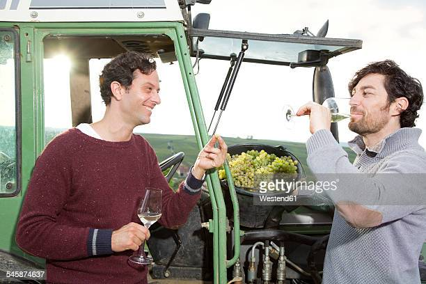 Germany, Bavaria, Volkach, two winegrowers tasting white wine at tractor