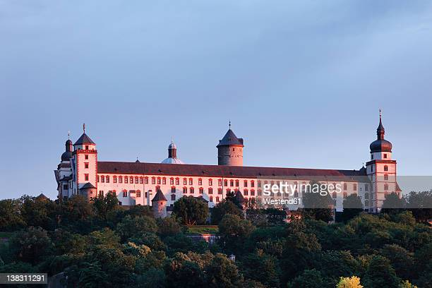 Germany, Bavaria, Wuerzburg, View of fortress marienberg at dusk