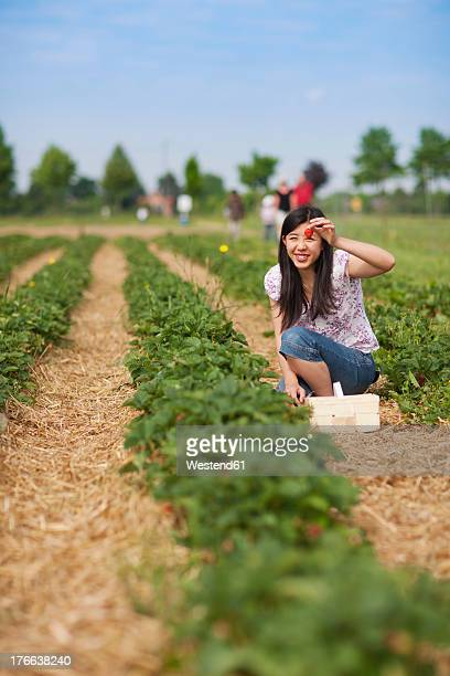 Germany, Bavaria, Young Japanese woman showing strawberry in field