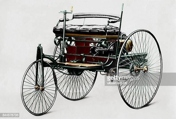 Germany Benz Patent Motorwagen 1885 The first petrolcar a threewheels vehicle with combustion motor and electric detonator 1885 Digitally colorized...