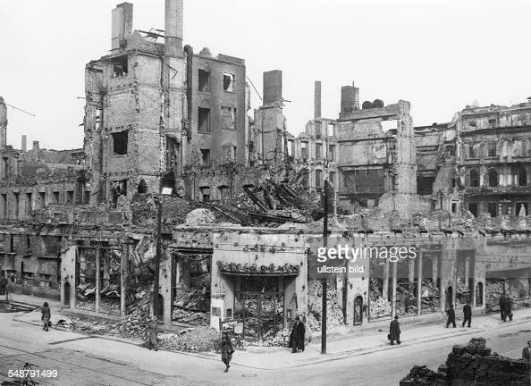 germany berlin american sector view of the destroyed building which formerly housed the. Black Bedroom Furniture Sets. Home Design Ideas
