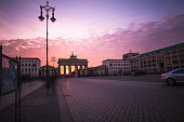 Germany, Berlin, Berlin-Mitte, Brandenburg Gate at sunset